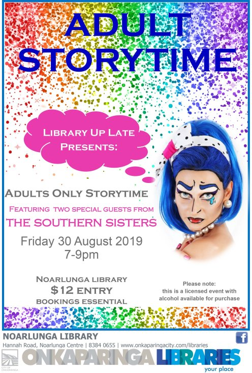 Adult storytime poster LIBRARY UP LATE 2019-1